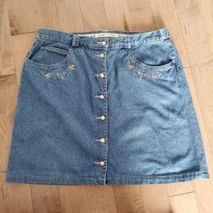 Vintage button down denim mini skirt